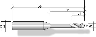 Stirnradiusfräser F261, Schaft freigelegt